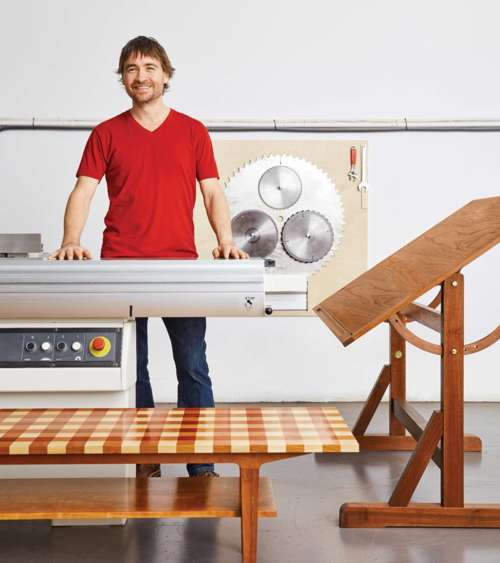 Jay Miron working in his Eastside Vancouver studio on one of his vintage General woodworking machines.